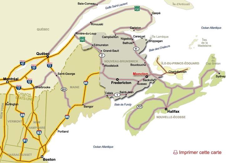 Carte Canada Nouveau Brunswick.Carte Routiere Du Nouveau Brunswick