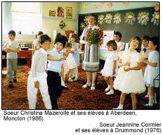 Soeur Christina Mazerolle et ses élèves à Aberdeen, Moncton (1986)