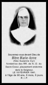 Carte mortuaire de mère Marie-Anne.