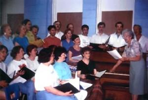 Soeur Germaine LeBlanc et sa chorale à Bathurst.