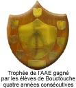 Trophée de l'AAE gagné par les élèves de Bouctouche quatre années consécutives.