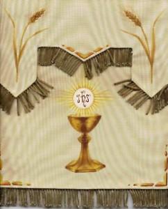Voile de tabernacle peint par soeur Marie-Eulalie.