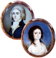 Portraits miniatures qu'Elizabeth Bailey et William Seton se sont présentés à leur mariage.(tiré de Elizabeth Ann Seton par M. I. Fugazy)