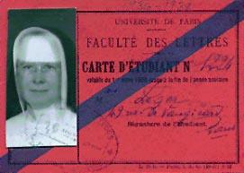 Carte d'étudiante de soeur M.-Jeanne-de-Valois à l'Université de Paris.