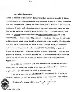 Dernière lettre de mère Marie-Anne à sa congrégation.