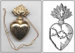 À droite : Esquisse du coeur argenté porté sur la guimpe des soeurs NDSC.À gauche : Premier échantillon du coeur, laminé en or, destiné à être porté à l'extrémité de la guimpe du nouveau costume des soeurs NDSC.