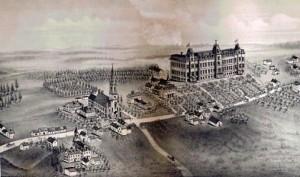 Memramcook vers 1888. L'Académie NDSC est en bas à gauche.(Esquisse de O. D. Currie Publisher, Moncton)