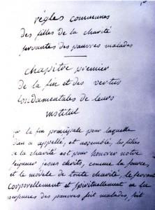 Page 1 de la Règle des Filles de la Charité écrite par Elizabeth Seton.