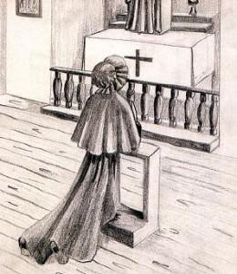 Elizabeth Seton au moment de sa conversion.(Dessin de G. E. Carque)