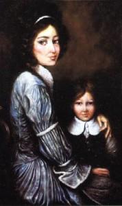 Portrait d'Elizabeth Seton et sa fille Anna.(Peinture de Joseph Dawley)