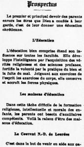 Prospectus du Couvent de Saint-Anselme.